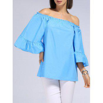 Sweet Patchwork Off-The-Shoulder Solid Color T-Shirt For Women