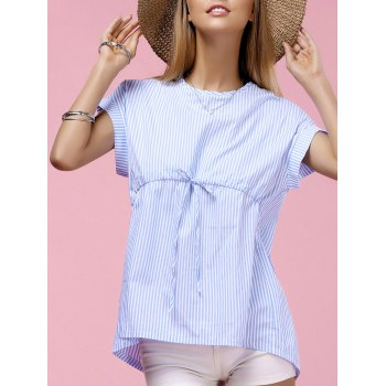 Fashionable Women's Round Neck Dolman Sleeve Striped Blouse - BLUE L
