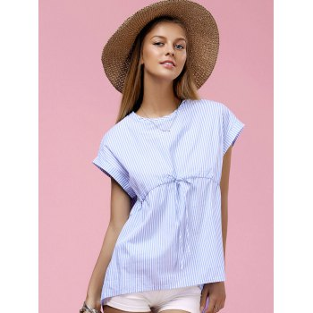 Round Neck Dolman Sleeve Striped Blouse de femmes à la mode - Bleu L