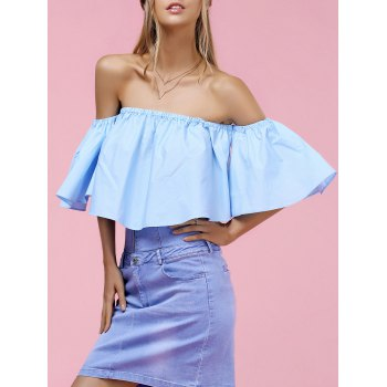 Trendy Women's Off-The-Shoulder Pure Color Blouse - BLUE S