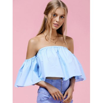 Trendy Women's Off-The-Shoulder Pure Color Blouse - S S