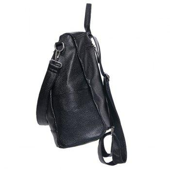 Casual Zips and PU Leather Design Women's Satchel - BLACK