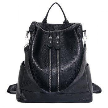 Casual Zips and PU Leather Design Women's Satchel