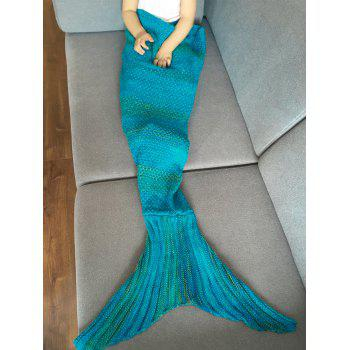 Stylish Stripe Knitted Mermaid Tail Design Blanket For Kids - BLUE