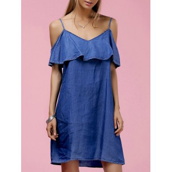 Fashionable Women's Strappy Ruffled Cold Shoulder Denim Dress