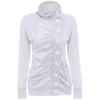 Chic Stand-Up Collar Long Sleeve Single Breasted Jacket For Women