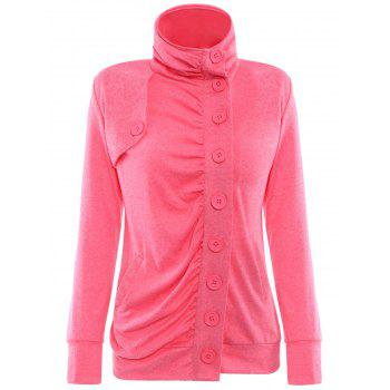 Chic Stand-Up Collar Long Sleeve Single Breasted Jacket For Women - RED RED