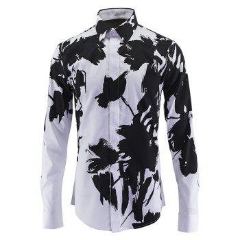 Buy Chinese Style Turn-Down Collar Wash Painting Print Long Sleeve Men's Shirt BLACK