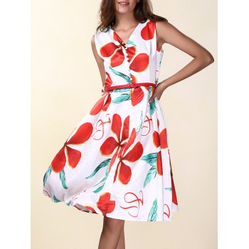 OL Style V-Neck Sleeveless Flowers Print Women's A Line Dress