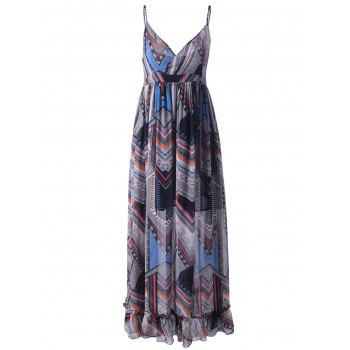Trendy Colorful Print Sleeveless Spaghetti Strap Dress For Women