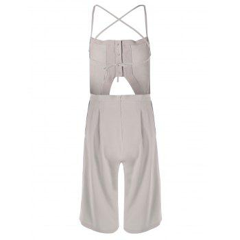 Trendy Apricot Spaghetti Strap Backless Jumpsuit For Women - APRICOT L