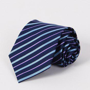 Stylish Light Blue and Purple Twill Jacquard Men's Navy Blue Tie