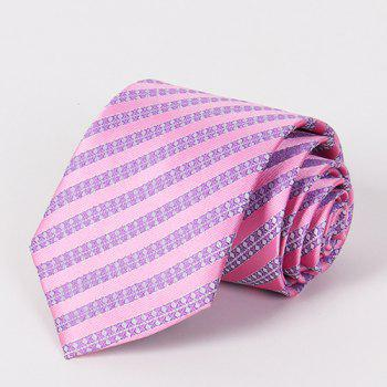Stylish Light Purple Twill Jacquard Men's Pink Tie