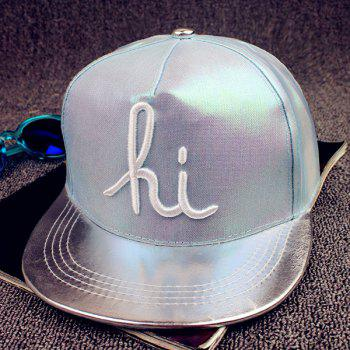 Fashion Letters Embroidery Silver Patent Leather Brim Flash Baseball Cap
