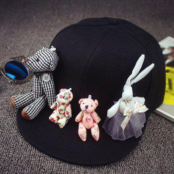 Chic Cartoon Animal Shape Toy Embellished Women's Black Baseball Cap