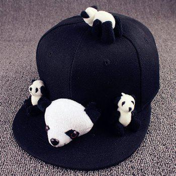 Stylish Cartoon Pandas Shape Toy Embellished Cute Black Baseball Cap