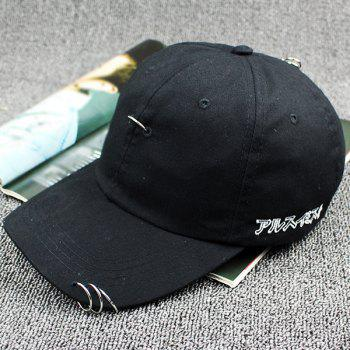 Stylish Embroidery Ring-Pull Safety Pin Embellished Baseball Cap