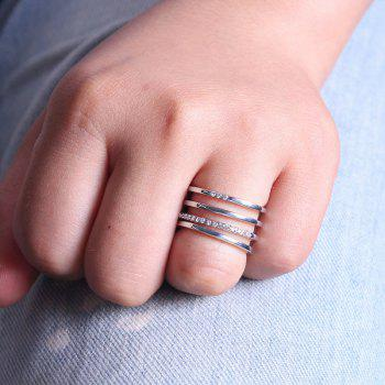 Rectangle Hollow Out Rhinestone Ring