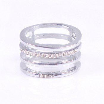 Rectangle Hollow Out Rhinestone Ring - SILVER