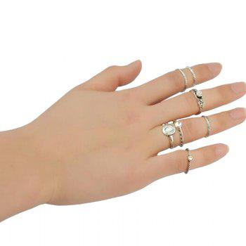 7 Pcs/Set Faux Turquoise Embossed Rings