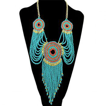 Round Multilayer Bead Tassel Pendant Necklace