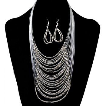 A Suit of Multilayer Necklace and Earrings