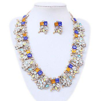 A Suit of Faux Crystal Embellished Necklace and Earrings