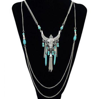 Vintage Faux Turquoise Ox Head Tassel Necklace