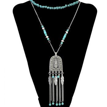 Faux Turquoise Multilayer Leaf Tassel Pendant Necklace