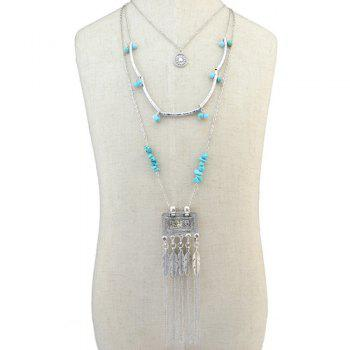 Gorgeous Faux Turquoise Multilayer Bead Feather Tassel Sweater Chain For Women