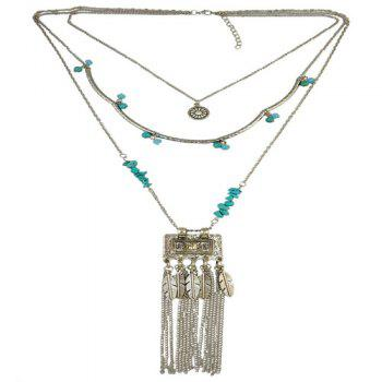 Gorgeous Faux Turquoise Multilayer Bead Feather Tassel Sweater Chain For Women -  SILVER