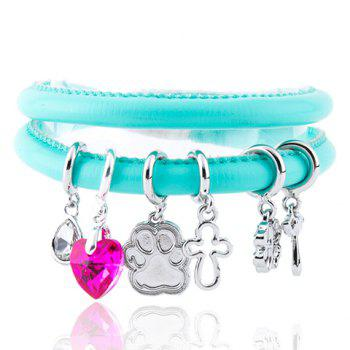 Cross Clover Water Drop Faux Gem Charm Bracelet