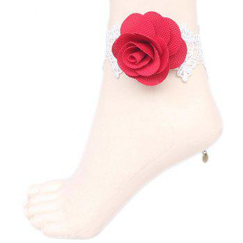 Hollow Out Rose Crochet Lace Flower Anklet - RED RED