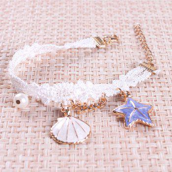 Fake Pearl Starfish Star Charm Beach Anklets - WHITE
