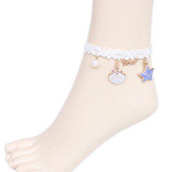 Fake Pearl Starfish Star Charm Beach Anklets - WHITE WHITE