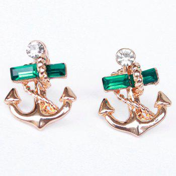 Pair of Rhinestone Anchor Drop Earrings