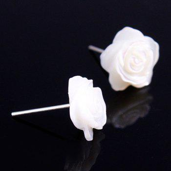 Pair of Floral Faux Shell Earrings - WHITE