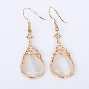 Pair of Water Drop Faux Opal Earrings