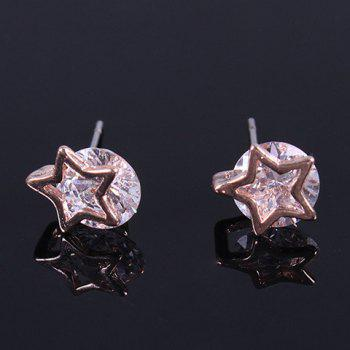 Pair of Pentagram Rhinestone Stud Earrings