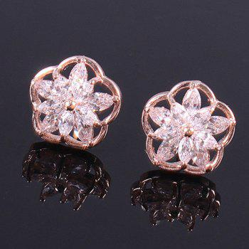 Pair of Flower Rhinestone Stud Earrings