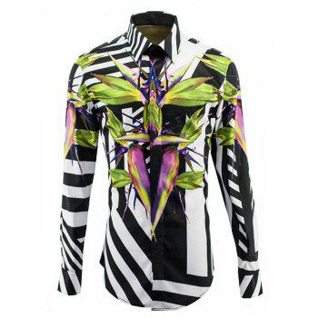 Color Block Turn-Down Collar Zebra Line Cross Print Long Sleeve Men's Shirt