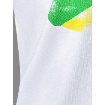 Casual Map Print V-Neck Short Sleeve T-Shirt For Women - WHITE XL