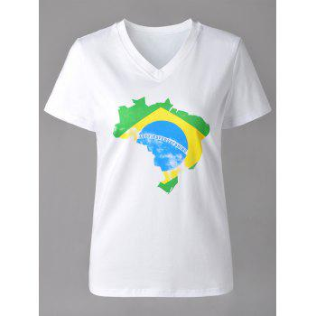 Casual Map Print V-Neck Short Sleeve T-Shirt For Women