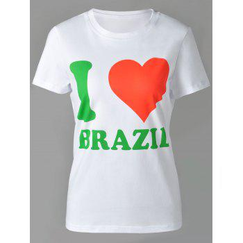 Casual Women's Round Neck Letter and Heart Print Short Sleeve T-Shirt