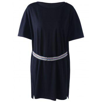 Casual Black National Wind Ribbon Knit Top For Women - BLACK M