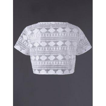 Trendy Lace See-Through Short Sleeve Crop Top For Women - WHITE L