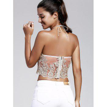 Simple Style Halter Laced Embroidery Crop Top For Women - GOLDEN L