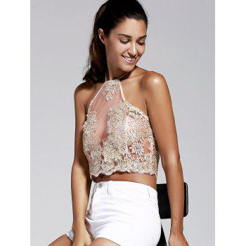 Simple Style Halter Laced Embroidery Crop Top For Women - GOLDEN S