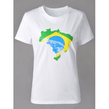 Casual Women's Round Neck Map Print Short Sleeve T-Shirt