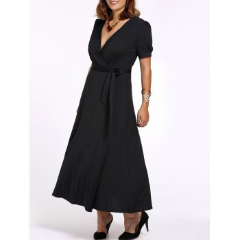 Plus Size Tie Belt Maxi Dress